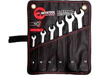 """Набор комбинированных ключей с трещоткой 6 ед., 8-19 мм Cr-V; PROF DIN3113 """"INTERTOOL"""""""