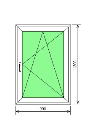 Окно металлопластиковое одностворчатое 900х1300 мм