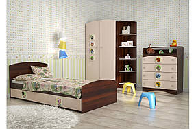 Детская спальня « 3 в 1» Орех темный/Венге светлый (ТМ Вальтер)