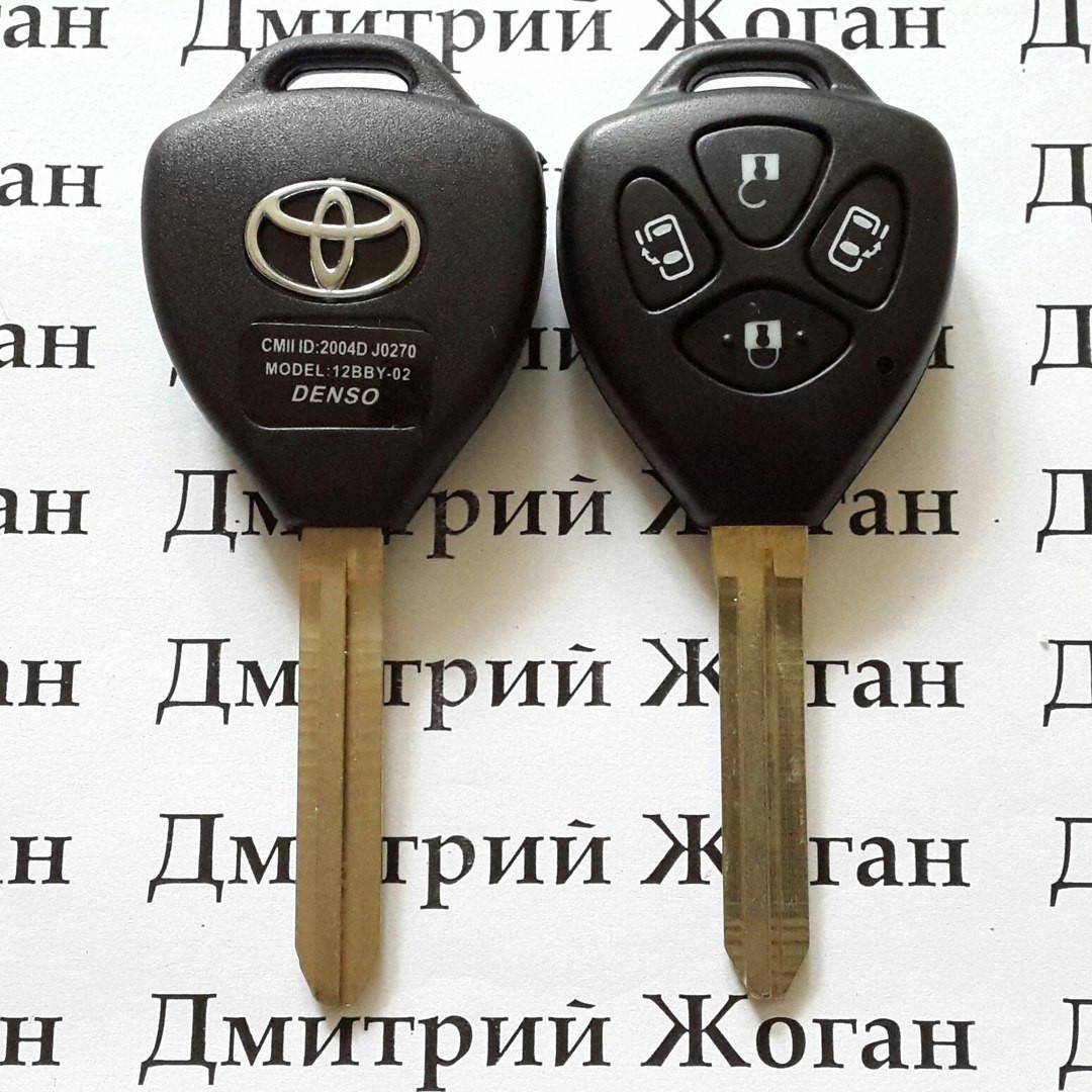 Автоключ для Toyota (Тойота) 4 - кнопки, 433 Mhz