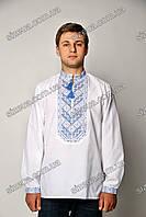 Вышиванка мужская с синей вышивкой