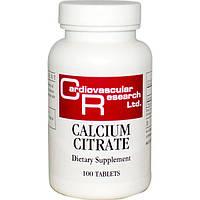 Цитрат кальция, натуральный, витамины, Cardiovascular Research, 100 таблеток