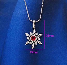 Кулон, Снежинка с красным цирконием, родий Xuping
