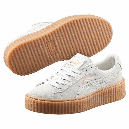 Кроссовки женские замшевые Puma Rihanna Creeper white wheat