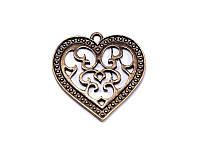 Металлическая подвеска-шармик - Сердечко винтаж,  античная бронза,1 шт