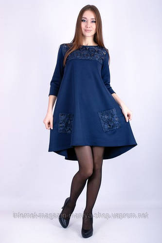 Платье женское карманы ажурные