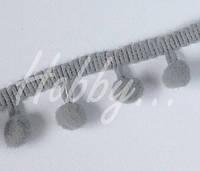 Тесьма с помпонами_СЕРЫЙ_9 мм , фото 1