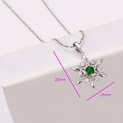 Кулон родований, Сніжинка з зеленим цирконієм, медична сталь Xuping
