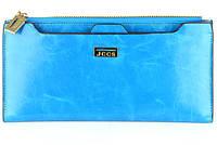 Женский кошелек JCCS 1052 голубой из натуральной кожи со съемной визитницей