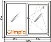 Окно двухстворчатое Олимпия 1300х1400 мм, фото 1