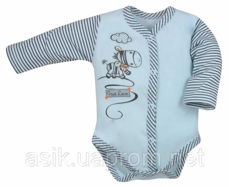 """Бодик  """"Zebra"""" с длинным рукавом голубого цвета. р 80."""