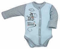 """Бодик  """"Zebra"""" с длинным рукавом голубого цвета. р62, 68, 74, 80."""