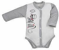 "Боди c длинным рукавом ""Zebra"" бежевого цвета.р 62, 68."