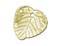 Акриловое украшение - Подвеска листик желтый, 15x15 мм, 1 шт