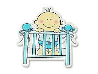Деревянное украшение — Малыш в кроватке, 1 шт