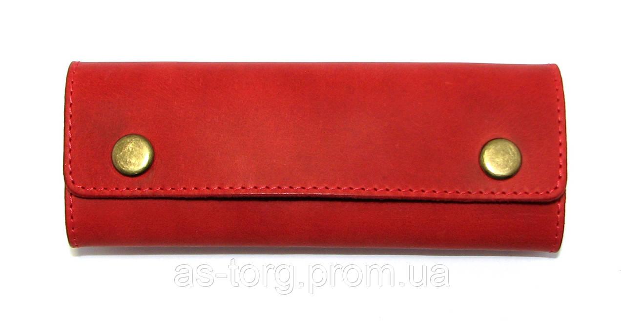 Красная ключница кожаная на кнопках - Интернет-магазин