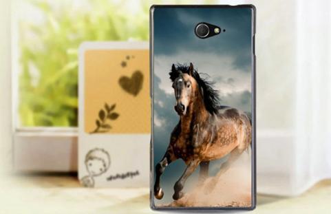 Силиконовый чехол бампер для Sony Xperia M2 / d2302 / d2303  с картинкой лошадь