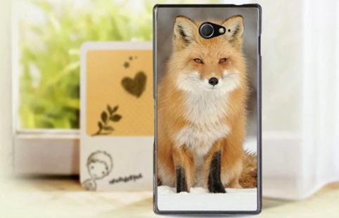 Силиконовый чехол бампер для Sony Xperia M2 / d2302 / d2303  с картинкой лиса