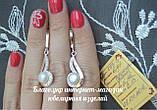 """Серебряные серьги """"Зар-53"""" с накладками золота и жемчугом, фото 3"""