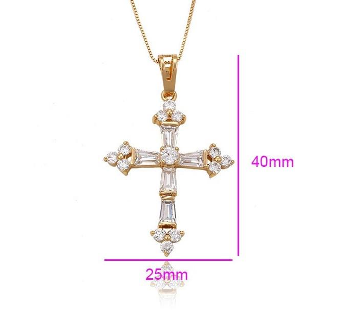 Крестик позолоченный с цирконием