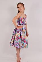 Детское летнее нарядное и оригинальное, недорогое шифоновое платье на бретельках с декоративным поясом KS1021
