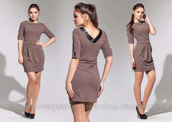 Платье женское вставки эко кожи