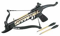 Арбалет пистолет с планкой ласточкин хвост: натяжение 8-10 кг, дуги 45 см, 900 г, дротики 3 штуки