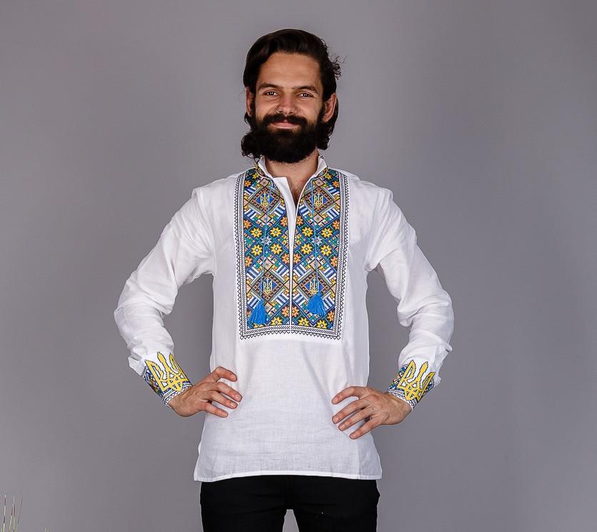 Украинская мужская вышиванка с национальной символикой., фото 1