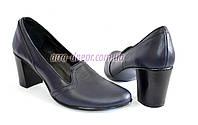 Кожаные синие женские туфли на невысоком каблуке