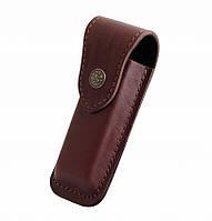 Чехол для ножей из кожи: телячья кожа 1-й сорт, 120х33х15 мм, клапан на кнопке, коричневый