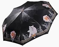 Женский зонт Три Слона Белый кот  САТИН ( полный автомат ) арт.141-12