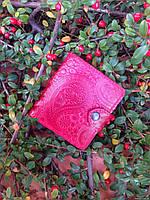 Кожаный кошелек вестерн S, Восточный узор,  красный.