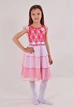 Детское нарядное недорогое праздничное платье с гипюровым верхом