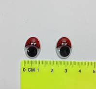 Глазки с подвижным зрачком красные 12 х 16 мм