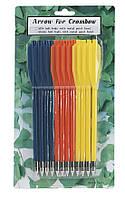 Стрелы арбалетные: пластик, 3 цвета, 12 штук, длина 16,51 см, диаметр 6 мм