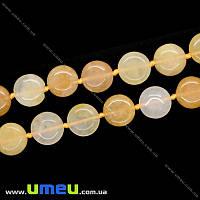Бусина натуральный камень Кварц желтый, 15х6 мм, Круглая плоская, 1 шт (BUS-009967)