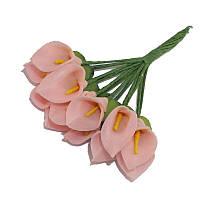 Каллы Персиковые из фоамирана (латекса) на проволоке 2x3 см см 12 шт/уп