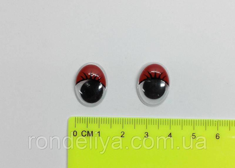 Оченята з рухомим зіницею червоні 14 х 18 мм