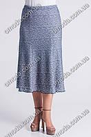 Женская юбка за колено Орхидея серого цвета