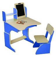 Парта с мольбертом растущая + стульчик (цвет синий), Финекс