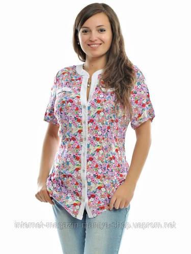 Блузка женская батал цветы