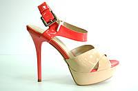 Босоножки женские Mario Moro бежевые из натуральной кожи на каблуке, женские босоножки