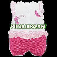 Детский песочник-футболка р. 74 ткань КУЛИР-ПИНЬЕ 100% тонкий хлопок ТМ Малена 3128 Малиновый