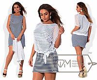 Летнее полосатое платье-двойка большого размера в разных расцветках i-1515606