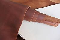 """Натуральная кожа """"Крейзи Хорс"""" для обуви и кожгалантереи коричнево-красного цвета арт. СК 2104"""