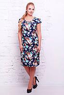 Платье приталенного силуэта ниже колена из натуральной ткани поплин цветы большого размера 54-60