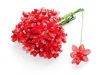 Тычинки Красные с ягодками и листиками 10 шт/уп на проволоке