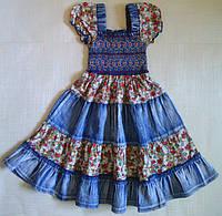Платье детское джинсовое, с салатовыми вставками, р.100 см