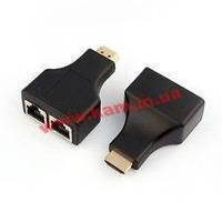 Удлинитель мониторный активный HDMI M/ F 30.0m, 1080p адаптер, HQ, черный (62.05.0739-10)