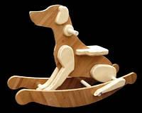 Детская качалка Собака деревянная ручной работы